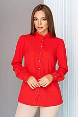 3028344b0f30f07 Красивая женская офисная блузка с рюшей по горловине, длинные рукава