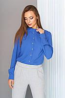 """Модная женская блузка с рюшей по горловине, длинный рукав """"L-567"""" синяя"""