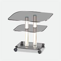 Стеклянный столик фигурный на роликах ggg/меt (650х450х580)
