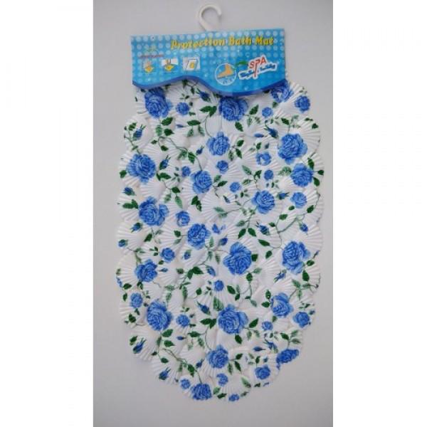 Силиконовый коврик в ванную 7-1-10 (синие розы)