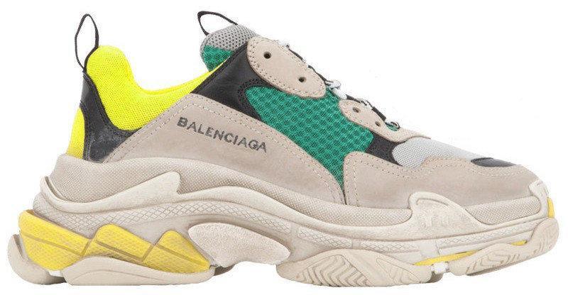 Женские кроссовки Balenciaga Triple S Beige/Yellow/Black (Баленсиага) бежевые