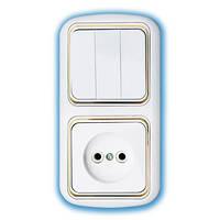 Электроустановочный блок трёхклавишный скрытой установки (серия Гармония - Люкс с золотой рамкой) Беларусь