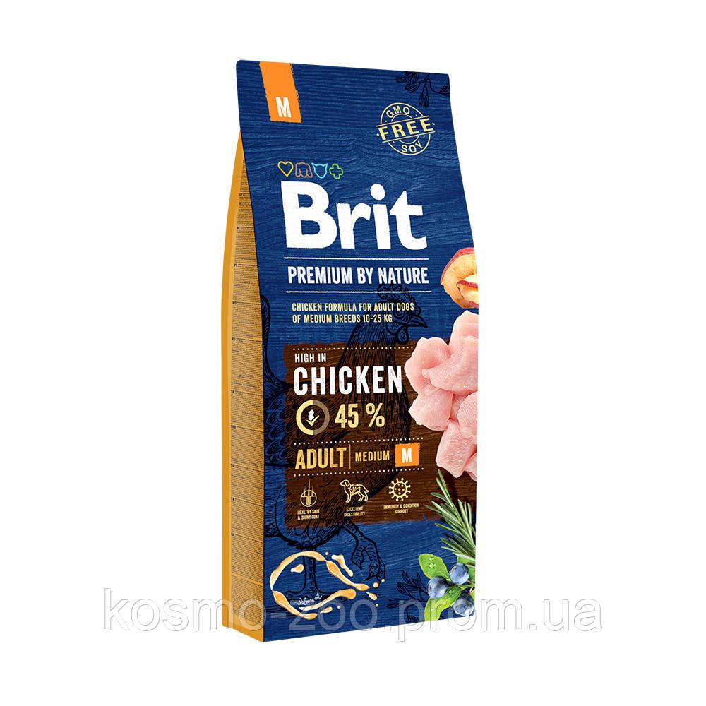 Сухой корм Брит Премиум для взрослых собак средних пород М (Brit Premium Adult M) с курицей, 15 кг
