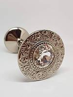 Классический Подхват для штор с  камнем REC116 серебро , фото 1
