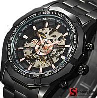 Мужские Наручные Механические Часы Скелетон с Автоподзаводом Черный
