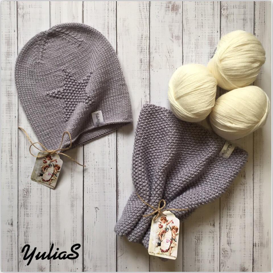вязаная шапка и снуд весна осень ручная работа цена 490 грн