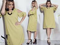 Жіноче літнє плаття великих розмірів гірчичний розмір 50 52 54 56 58 60 b2f900044cfc1