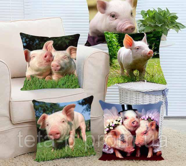 Подушка с картинкой свинки - подарок на новый год