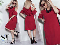 Жіноче літнє плаття великих розмірів бордо розмір 50 52 54 56 58 60 cbcce11fbb316