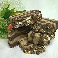 Молочное мыло-скраб с овсянкой и какао бобами