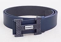 Кожаный ремень Hermes синий, фото 1