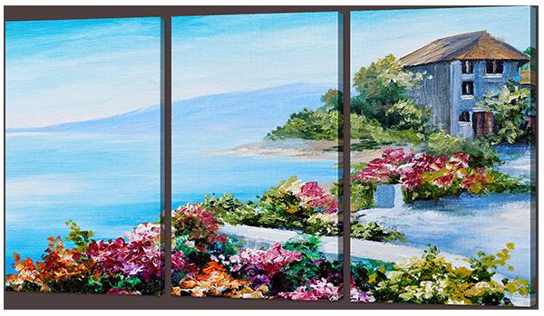Модульная картина Цветы и Море