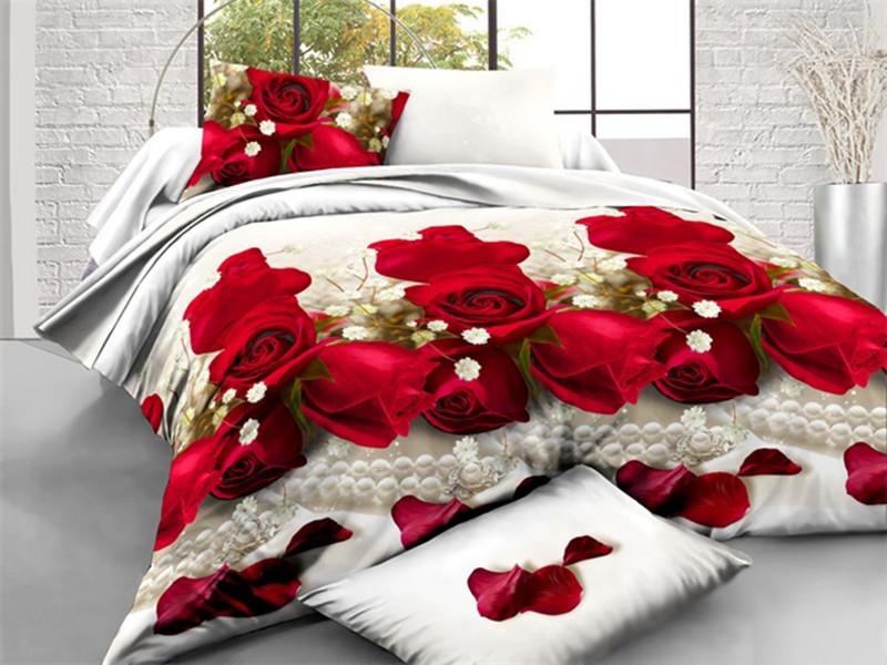 Постельное белье двуспальное Розы 180*220 бязь полиэстер
