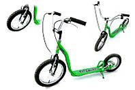 Самокат подростковый на резиновых надувных колесах с велосипедным рулем Take&Ride TR1612-LB8