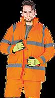 Зимняя куртка K-VIS P рабочая со светоотражающими полосами оранжевая Reis Польша (утепленная спецодежда)