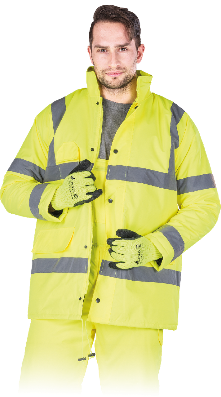 Куртка K-VIS Y утепленная рабочая сигнальная желтая Reis Польша (зимняя рабочая одежда)