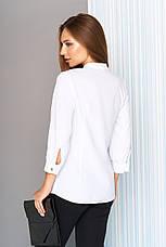 779971365aa Красивая женская белая офисная блузка с жабо рукава 3 4