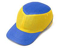 Каска-бейсболка ударопрочная со светоотражающей лентой (цвет сине-жёлтый), фото 1