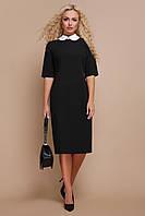 Черное платье миди с белым воротником, фото 1