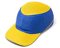 Каска-бейсболка ударопрочная со светоотражающей лентой (цвет жёлто-синяя), фото 1