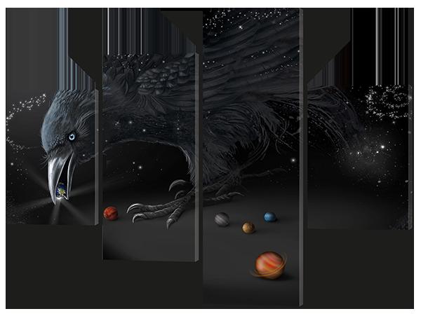 Модульная картина Ворон и камни