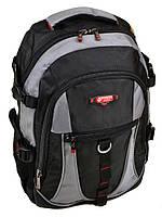Спортивный рюкзак 9608 grey из нейлона черный с серыми вставками, фото 1