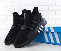 """Кроссовки мужские Adidas EQT Bask ADV """"Черные с белыми полосками"""" р. 41-44, фото 1"""
