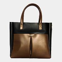 ac7c5adc83b0 Сумка жіноча чорна з екошкіри (бронзові кишені)   Сумка женская черная из  экокожи (