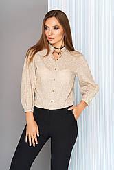 """Стильная женская рубашка в цветочный принт с воротником-стойкой """"S-05"""" бежевая"""
