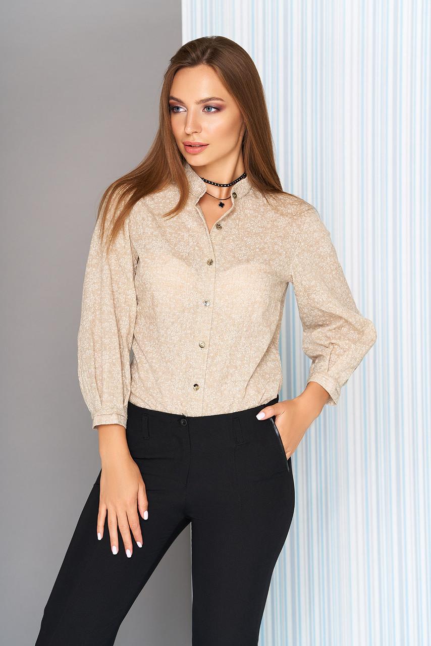 47e16fd466f Стильная женская рубашка в цветочный принт с воротником-стойкой