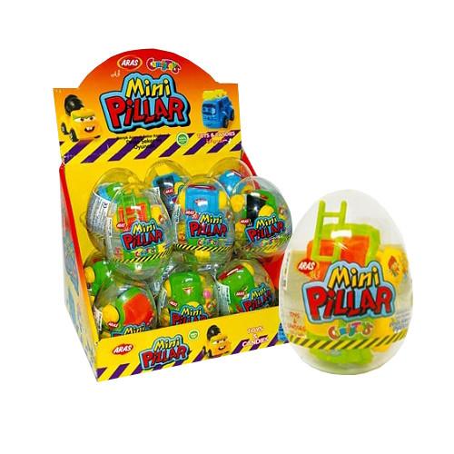 Яйцо с сюрпризом БОЛЬШОЕ мини пиллар (ARAS)10г /12 шт/6 в ящ