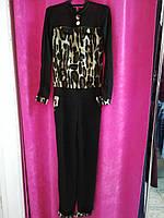 Комбинезон летний, черный с леопардовой отделкой, размер: 44 код 2748М