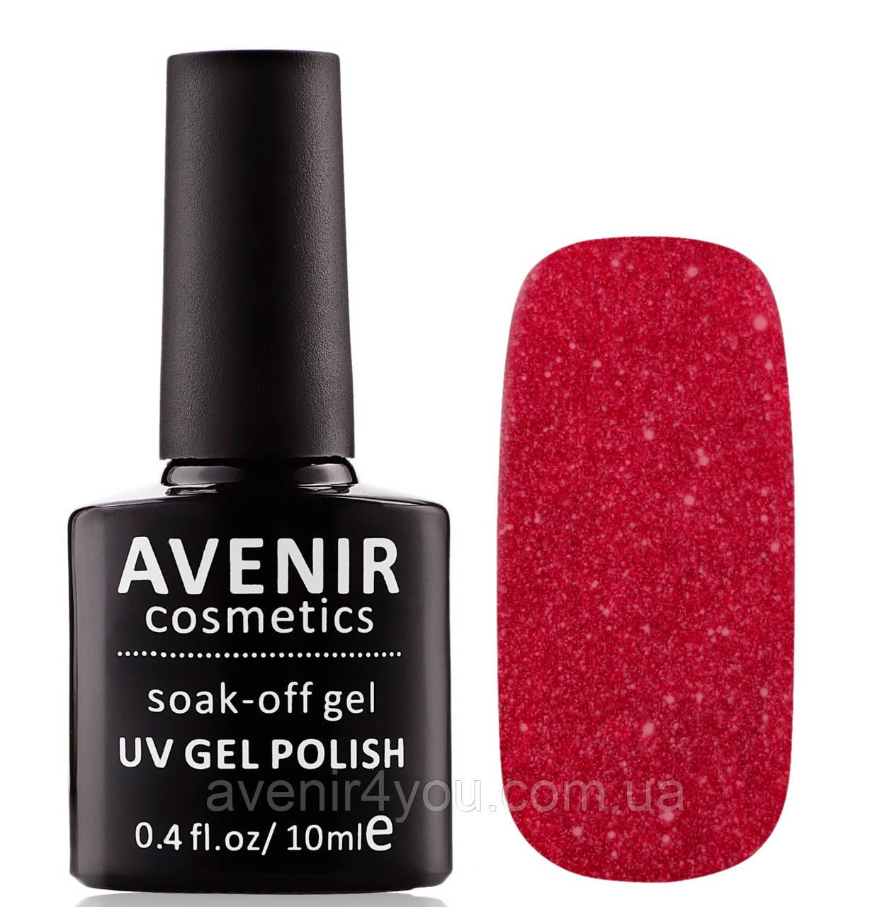 Гель-лак AVENIR Cosmetics №182. Червона парча з золотим пилом