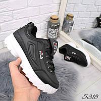 Кроссовки женские Fila Raptor черные 5318, спортивная обувь, фото 1