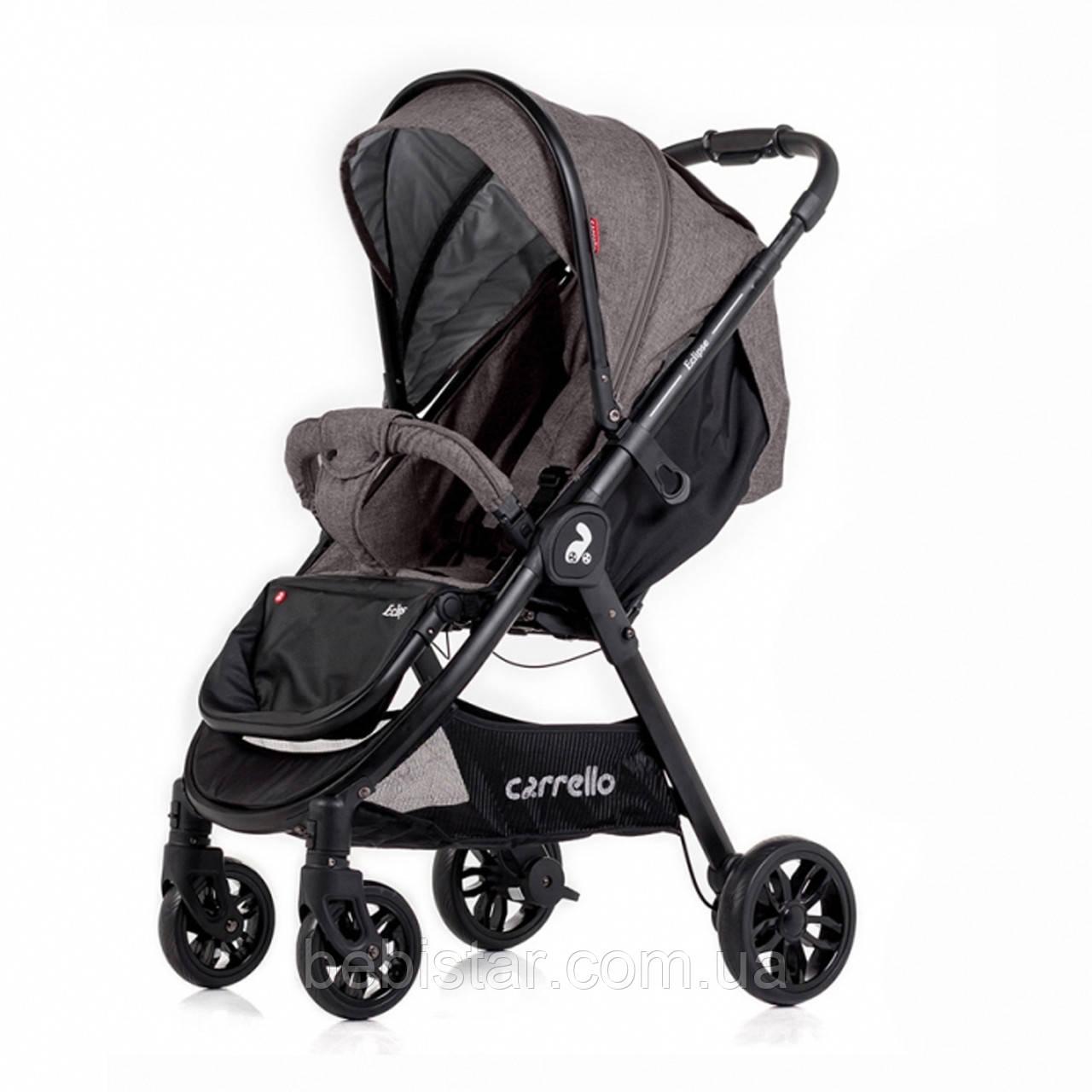 Детская прогулочная коляска с дождевиком цвет серый CARRELLO Eclipse CRL-12001 Shale Grey в льне