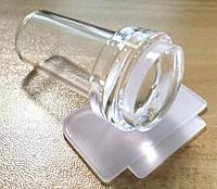 Прозрачный силиконовый штамп с скрапером круглый