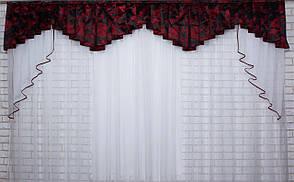 Ламбрекен из плотной ткани №118 Цвет чёрный с бордовым. Код: 118л268(А)