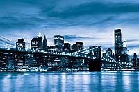 Фотообои город Нью-Йорк 368x254 см Синий Бруклинский мост (229.20465)