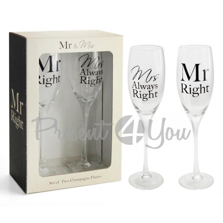 Набор бокалов для шампанського (2шт) 'Mr and Mrs Right Flutes'