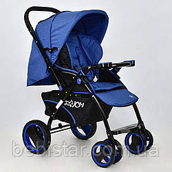 Детская коляскасиняя с перекидной ручкой JOY Т 100 Blue  в льне для деток до 3 лет