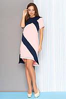 """Модное платье миди с короткими рукавами и геометрическим принтом """"L-562"""" розовое"""