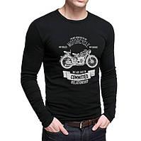 """Футболка мужская """"Мотоцикл"""" черная с длинным рукавом. Размер:50-54"""