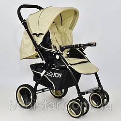 Детская коляскабежевая с перекидной ручкой JOY Т 100 Beige в льне для деток до 3 лет