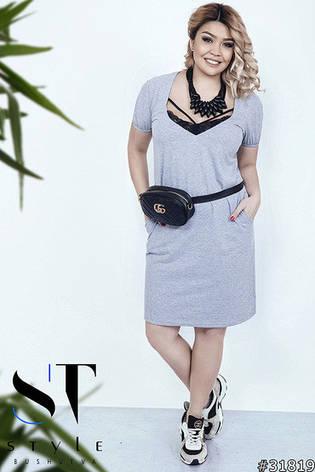 Жіноче літнє плаття великих розмірів сірий розмір 50 52 54 56 58 ... e58edd401afdf