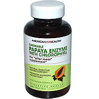 American Health, Энзим папайи с хлорофиллом, Папаин 250 жевательных таблеток