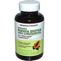 Энзим папайи с хлорофиллом, American Health, Папаин 250 жевательных таблеток