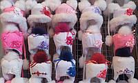 Детские зимние шапки меховой бубон для девочек от полугода до 4 лет - S239
