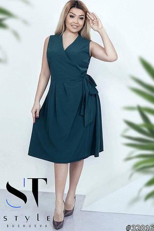 80e79ae4263e72 Жіноче літнє плаття великих розмірів на запах зелений універсальний розмір  48-52 , фото 2