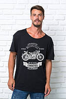 "Стильная мужская футболка ""Мотоцикл"" черная. Размер 50-54., фото 1"