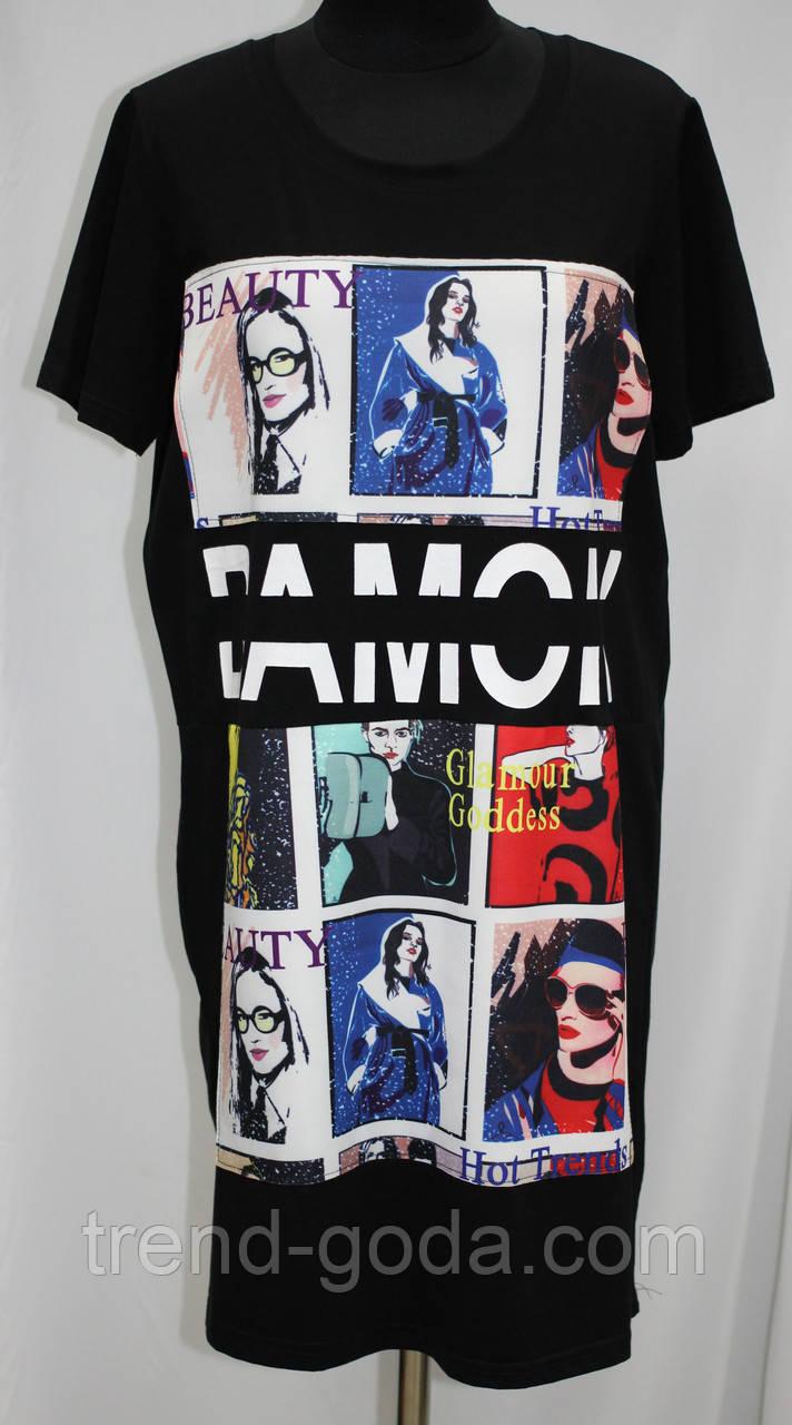 Платье футболка женское, трикотажное, черное с рисунком